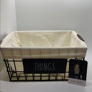 """NEW RAE DUNN """"THINGS"""" WIRE AND LINEN BASKET!!"""